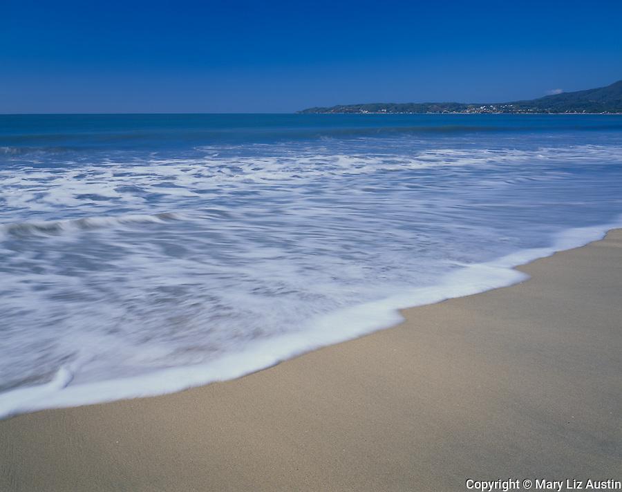 Nayarit, Mexico<br /> Waves washing the beach of Bahia de Banderas (Banderas Bay) near the village of Bucerias