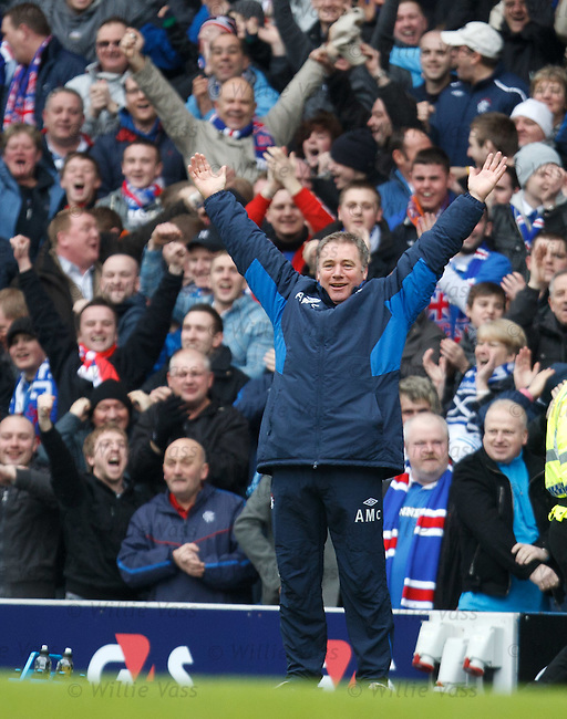 Ally McCoist celebrates as Rangers take an early lead through Jamie Ness