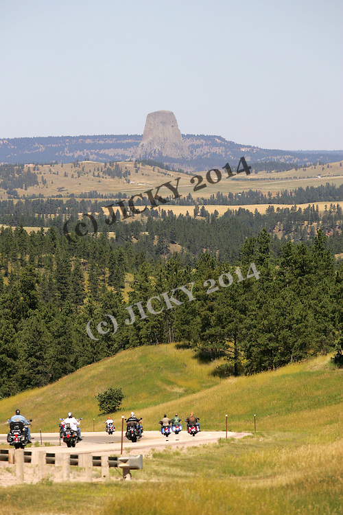 Devils Tower and bikers on highway 14