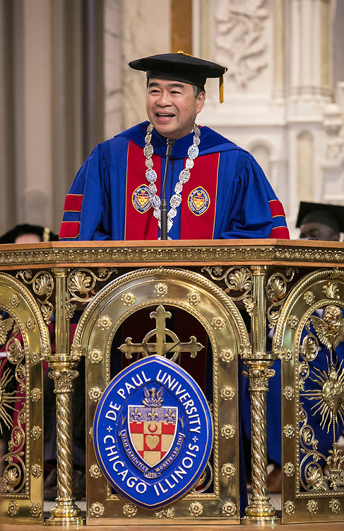 A. Gabriel Esteban, Ph.D., president of DePaul University, addresses the faculty and staff gathered in the St. Vincent de Paul Parish Church Thursday, Aug. 31, 2017, during the annual Academic Convocation. (DePaul University/Jamie Moncrief)