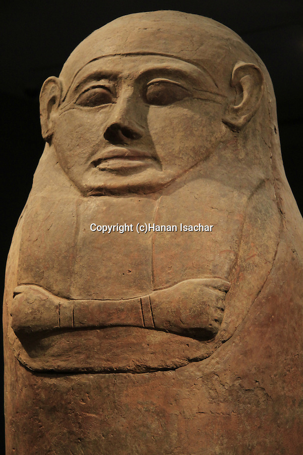 Israel, Jerusalem, Human shaped coffins from Deir el-Balah at the Israel Museum
