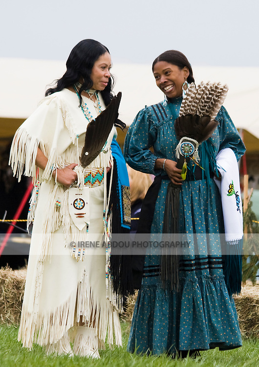 Native Americans dress in traditional regalia at the Healing Horse Spirit PowWow in Mt. Airy, Maryland.