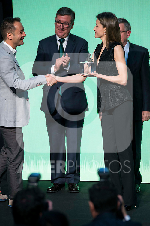 "Winner of the prize ""Gran Angular"", Alvaro Garcia Hernandez and Queen Letizia of Spain during the delivery of SM Awards of children's literature ""El Barco de Vapor"" and ""Gran Angular"" at Real Casa de Correos in Madrid. April 19,2016. (ALTERPHOTOS/Borja B.Hojas)"