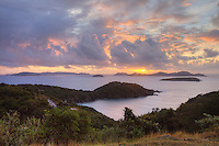 View of the British Virgin Islands from Privateer Point on St. John at sunrise<br /> U.S. Virgin Islands