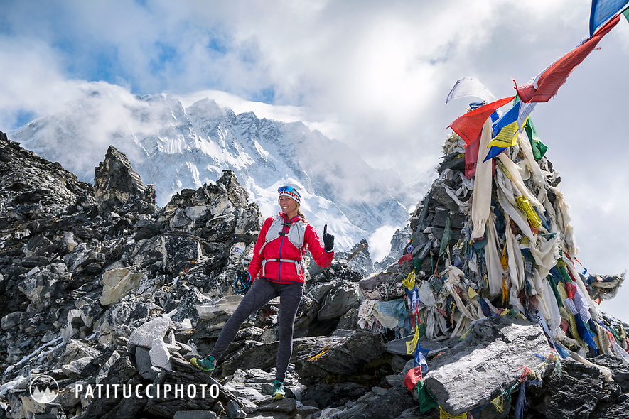 With the first of 3 Passes done, Kongma La, 5600 meters, Kim Strom stands happy to have one down. Khumbu Valley, Nepal.