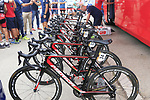 Bahrain-Merida team bikes lined up at the team bus before the start of Stage 4 of La Vuelta 2019 running 175.5km from Cullera to El Puig, Spain. 27th August 2019.<br /> Picture: Eoin Clarke | Cyclefile<br /> <br /> All photos usage must carry mandatory copyright credit (© Cyclefile | Eoin Clarke)