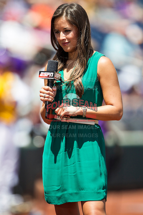 ESPN reporter Kaylee Hurtung during the NCAA College baseball World Series against the Cal State Fullerton on June 16, 2015 at TD Ameritrade Park in Omaha, Nebraska. (Andrew Woolley/Four Seam Images)