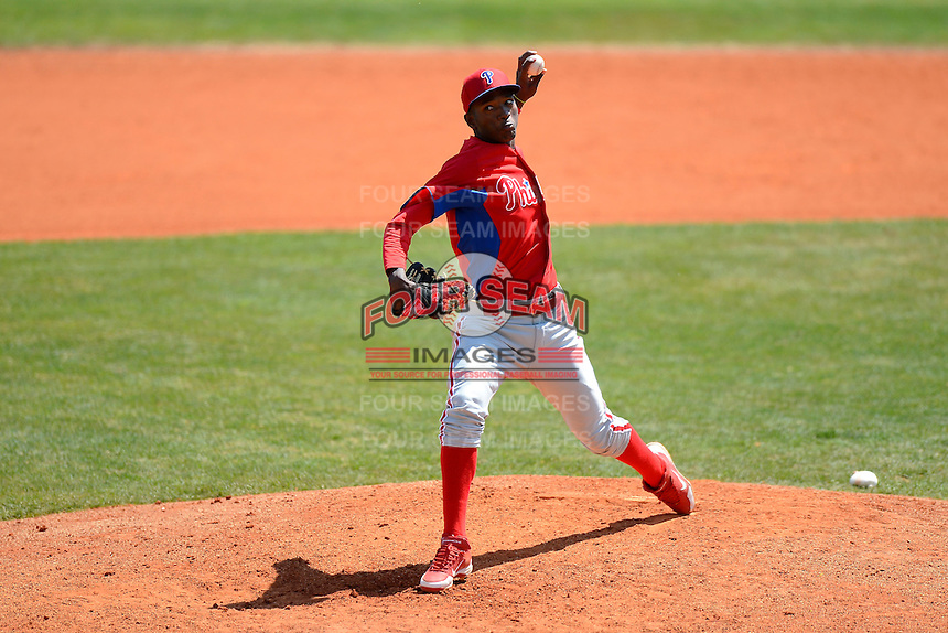 Philadelphia Phillies pitcher Yoel Mecias (70) during a minor league Spring Training game against the Atlanta Braves at Al Lang Field on March 14, 2013 in St. Petersburg, Florida.  (Mike Janes/Four Seam Images)