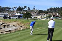 Gerry McManus (IRL) tees off the 18th tee at Pebble Beach course during Friday's Round 2 of the 2018 AT&amp;T Pebble Beach Pro-Am, held over 3 courses Pebble Beach, Spyglass Hill and Monterey, California, USA. 9th February 2018.<br /> Picture: Eoin Clarke | Golffile<br /> <br /> <br /> All photos usage must carry mandatory copyright credit (&copy; Golffile | Eoin Clarke)
