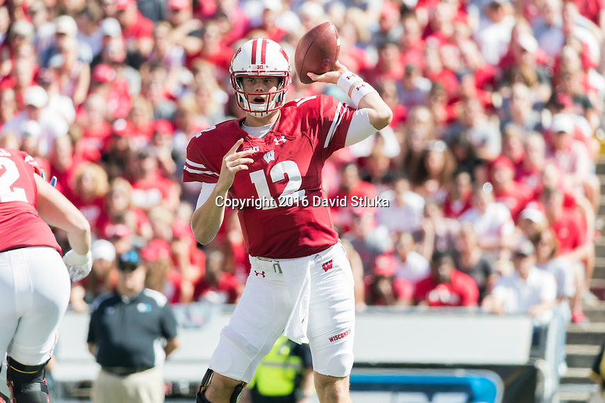 Wisconsin Badgers quarterback Alex Hornibrook (12) throws a pass during an NCAA college football game against the Georgia State Panthers Saturday, September 17, 2016, in Madison, Wis. The Badgers won 23-17. (Photo by David Stluka)