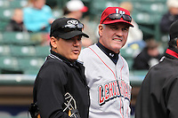 Lehigh Valley Ironpigs manager Ryne Sandberg #23 and umpire Gerard Ascani during during the first game of a double header against the Rochester Red Wings at Frontier Field on April 14, 2011 in Rochester, New York.  Rochester defeated Lehigh Valley with a walk off home run 3-1 in the bottom of the seventh.  Photo By Mike Janes/Four Seam Images