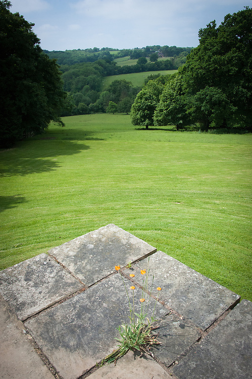 View of Sussex Weald from terrace, Tidebrook Manor, East Sussex, early June.