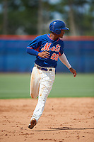 GCL Mets pinch runner Ricardo Cespedes (28) running the bases during the first game of a doubleheader against the GCL Marlins on July 24, 2015 at the St. Lucie Sports Complex in St. Lucie, Florida.  GCL Marlins defeated the GCL Mets 5-4.  (Mike Janes/Four Seam Images)