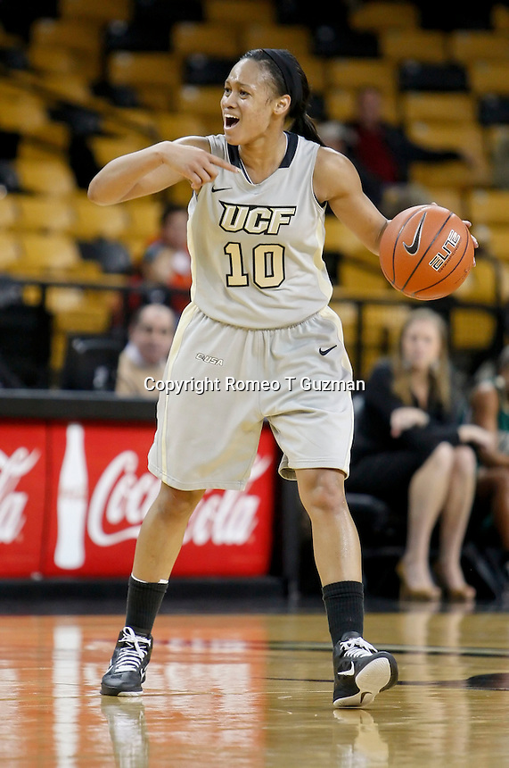 January 13, 2011: Central Florida guard Aisha Patrick (10) directs the offense during second half Conference USA NCAA basketball game action between the UAB Blazers and the Central Florida Knights, Central Florida defeated UAB 65-55 at the UCF Arena Orlando, Fl.