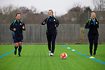 Doncaster Rovers Belles 1 Chelsea Ladies 4, 20/03/2016. Keepmoat Stadium, Womens FA Cup. Becky Easton, Natasha Dowie and Sophie Barker of Doncaster Rovers Belles, training on the astroturf pitch outside The Keepmoat Stadium. Photo by Paul Thompson.
