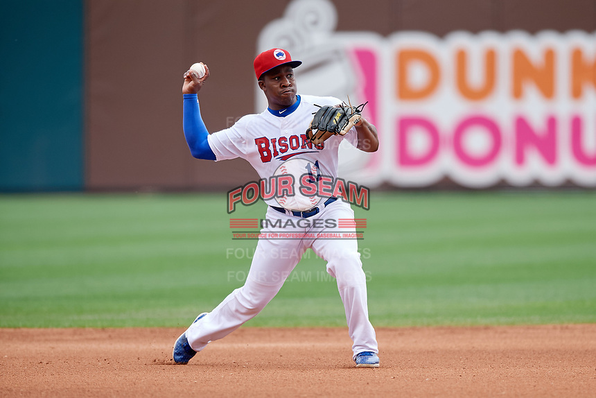Buffalo Bisons shortstop Gift Ngoepe (11) throws to first base during a game against the Pawtucket Red Sox on June 28, 2018 at Coca-Cola Field in Buffalo, New York.  Buffalo defeated Pawtucket 8-1.  (Mike Janes/Four Seam Images)