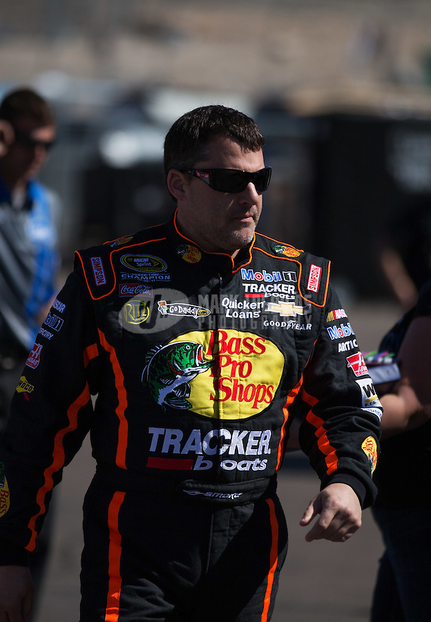 Mar. 1, 2013; Avondale, AZ, USA; NASCAR Sprint Cup Series driver Tony Stewart during practice for the Subway Fresh Fit 500 at Phoenix International Raceway. Mandatory Credit: Mark J. Rebilas-