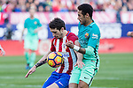 Vrsaljko of Atletico de Madrid competes for the ball with Neymar Santos Jr of Futbol Club Barcelona during the match of Spanish La Liga between Atletico de Madrid and Futbol Club Barcelona at Vicente Calderon Stadium in Madrid, Spain. February 26, 2017. (Rodrigo Jimenez / ALTERPHOTOS)