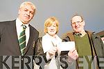 CHEQUE: Julie Sheahan of Killorglin Golf Club Bar & Restaurant presenting a cheque to support Br. John Guinnane's projects in Nigeria to Liam Philpott (right) and Mark Hanley (Captain, Killorglin Golf Club) at Presentation Secondary School, Milltown on Friday.