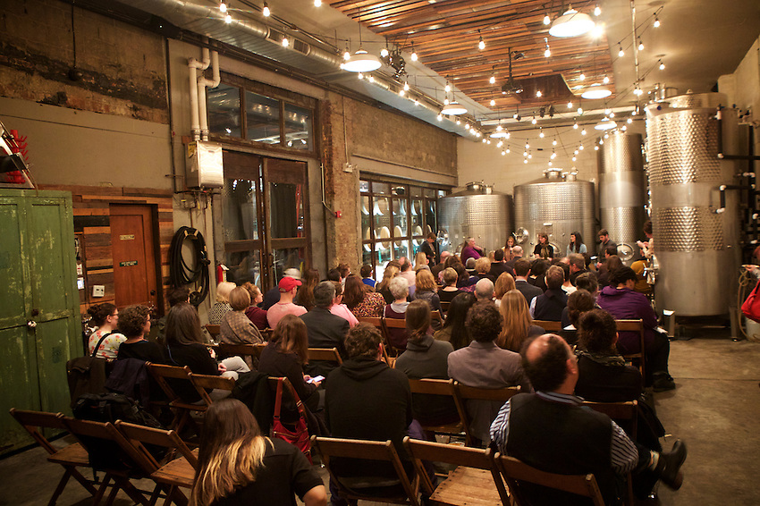 BROOKLYN, NY - February 28, 2017: Slow Food NYC hosted its annual Food Almanac panel discussion on food policy at Brooklyn Winery. This year's theme: Are Good, Clean, and Fair Food &amp; Farming Getting Trumped? <br /> <br /> Moderated by Mary Cleaver of The Cleaver Co., the talk featured Mary Jo Dudley of the Cornell Farmworker Program, Pam Koch of the Tisch Food Center at Colombia University, Reana Kovalcik of the National Sustainable Agriculture Coalition, Josh Morgenthau, owner and operator of Fishkill Farms in the Hudson Valley, and Margot Pollans, Assistant Professor of Law at Pace University.<br />  <br /> Credit: Clay Williams for Slow Food NYC.<br /> <br /> &copy; Clay Williams / http://claywilliamsphoto.com