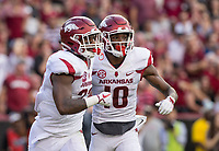 Hawgs Illustrated/BEN GOFF <br /> David Williams (left), Arkansas running back, celebrates with wide receiver Jordan Jones after scoring a touchdown in the first half against South Carolina Saturday, Oct. 7, 2017, at Williams-Brice Stadium in Columbia, S.C. The touchdown was nullified on review, Williams having stepped out of bounds.