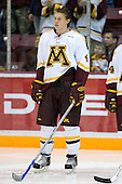 Erik Johnson (University of Minnesota - Bloomington, MN) lines up. The University of Minnesota Golden Gophers defeated the Michigan State University Spartans 5-4 on Friday, November 24, 2006 at Mariucci Arena in Minneapolis, Minnesota, as part of the College Hockey Showcase.