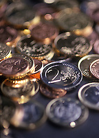 Euro coins in different denominations.