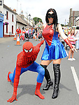 Spiderman and Spiderwoman at the Clogherhead 10k run. Photo: Colin Bell/pressphotos.ie