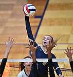 Althoff player Karinna Gall slams the ball over. Althoff lost to Minooka in the championship game of the O'Fallon Class 4A volleyball sectional at O'Fallon HS in O'Fallon, IL on November 6, 2019.<br /> Tim Vizer/Special to STLhighschoolsports.com