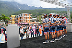 Nippo-Vini Fantini-Faizane at sign on before the start of Stage 14 of the 2019 Giro d'Italia, running 131km from Saint-Vincent to Courmayeur (Skyway Monte Bianco), Italy. 25th May 2019<br /> Picture: Gian Mattia D'Alberto/LaPresse | Cyclefile<br /> <br /> All photos usage must carry mandatory copyright credit (© Cyclefile | Gian Mattia D'Alberto/LaPresse)