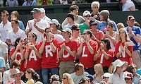 28-6-08, England, Wimbledon, Tennis, Supporters for  Caroline Wozniacki on Centercourt