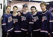 Dave Warsofsky (USA - 5), Ryan Bourque (USA - 17), Danny Kristo (USA - 8), Kyle Palmieri (USA - 23), Cam Fowler (USA - 24) - Team USA defeated Team Finland 6-2 on Saturday, January 2, 2010, at Credit Union Centre in Saskatoon, Saskatchewan during the 2010 World Juniors quarterfinals.