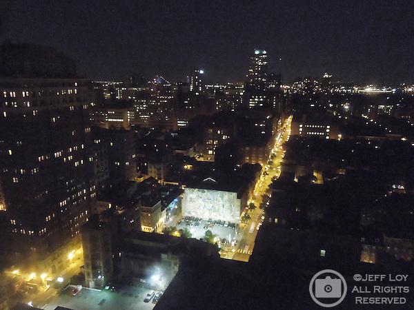 Downtown Philadelphia, Pennsylvania at night.
