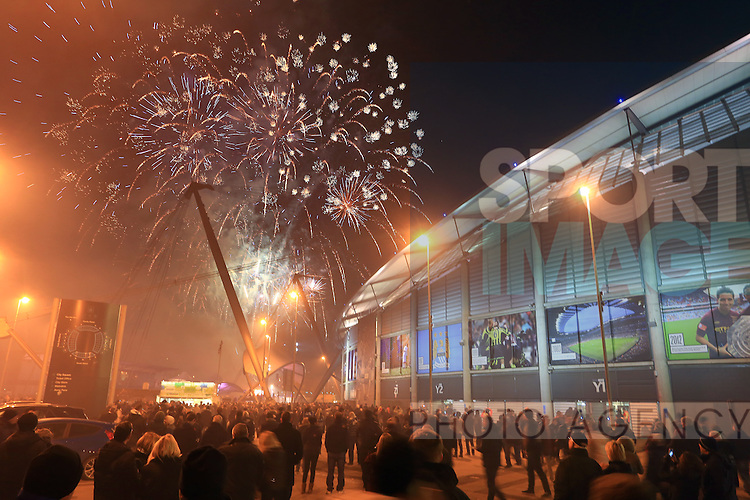 Fans are treated to a fireworks display ahead of kickoff - Manchester City vs. CSKA Moscow - UEFA Champions League - Etihad Stadium - Manchester - 05/11/2014 Pic Philip Oldham/Sportimage