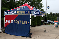 Cary, North Carolina  - Wednesday May 24, 2017: Ticket booth outside of Sahlen's Stadium prior to a regular season National Women's Soccer League (NWSL) match between the North Carolina Courage and the Sky Blue FC at Sahlen's Stadium at WakeMed Soccer Park. The Courage won the game 2-0.
