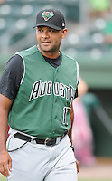 Manager Lipso Nava (17) of the Augusta GreenJackets, Class A affiliate of the San Francisco Giants, prior to a game against the Greenville Drive on August 27, 2011, at Fluor Field at the West End in Greenville, South Carolina. Greenville defeated Augusta, 10-4. (Tom Priddy/Four Seam Images)