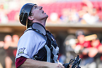 Wisconsin Timber Rattlers catcher Gregory McCall (21) chases after a foul ball during a Midwest League game against the Quad Cities River Bandits on July 17th, 2015 at Fox Cities Stadium in Appleton, Wisconsin. Quad Cities defeated Wisconsin 4-2. (Brad Krause/Four Seam Images)