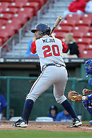 Gwinnett Braves first baseman Ernesto Mejia #20 during a game against the Buffalo Bisons at Coca-Cola Field on May 17, 2012 in Buffalo, New York.  Buffalo defeated Gwinnett 4-2.  (Mike Janes/Four Seam Images)