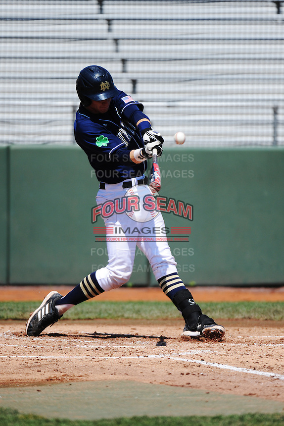 University of Notre Dame Fighting Irish catcher Forrest Johnson (30) during game against the St. John's University Redstorm at Jack Kaiser Stadium on May 12, 2013 in Queens, New York. St. John's defeated Notre Dame 2-1.      . (Tomasso DeRosa/ Four Seam Images)