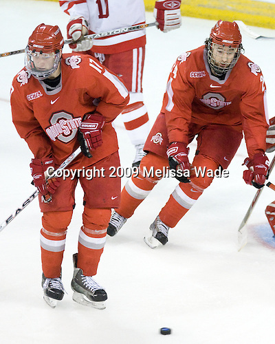 Chris Reed (Ohio State - 17), Shane Sims (Ohio State - 24) - The Boston University Terriers defeated the Ohio State University Buckeyes 8-3 in the 2009 Northeast Regional Semifinal on Saturday, March 28, 2009, at the Verizon Wireless Center in Manchester, New Hampshire.