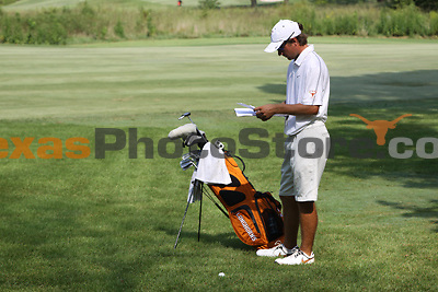 University of Texas senior Toni Hakula looks over his scorecard during the Carpet Capital Collegiate at The Farm Golf Club in Rocky Face, Ga., on Saturday, Sept. 7. The Longhorns return to The Farm as defending champions after shooting a 13-under 851 in 2012.<br /> <br /> Photo by Patrick Smith