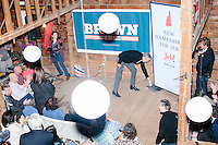 Republican presidential candidate and former Florida governor Jeb Bush speaks to a crowd in the barn of Dr. and Mrs. James Betti in Rye, New Hampshire, for former Massachusetts senator Scott Brown's No B.S. BBQ series.