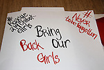 supports by doing a poster and  attending the vigil for Bring Back Our Girls - 500 Days on August 27, 2015 at Church Center for the United Nations followed by a vigil at the Nigeria House in New York City, New York (Photo by Sue Coflin/Max Photos)