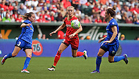 Portland, OR - Sunday, May 29, 2016: Portland Thorns FC midfielder Dagny Brynjarsdottir (11) is marked by Seattle Reign FC defender Lauren Barnes (3) during a regular season National Women's Soccer League (NWSL) match at Providence Park.