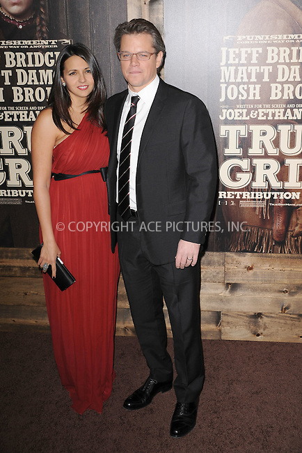 WWW.ACEPIXS.COM . . . . . .December 14, 2010...New York City...Luciana Barroso and Matt Damon attends the premiere of 'True Grit' at the Ziegfeld Theatre on December 14, 2010 in New York City. ....Please byline: KRISTIN CALLAHAN - ACEPIXS.COM.. . .Ace Pictures, Inc: ..tel: (212) 243 8787 or (646) 769 0430..e-mail: info@acepixs.com..web: http://www.acepixs.com .