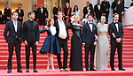 "72nd edition of the Cannes Film Festival in Cannes in Cannes, southern France on May 24, 2019. - Day 11 - Red carpet for the screening of the film ""Sibyl""  (FromL) French producer Arthur Harari, French actor Gaspard Ulliel, French actress Laure Calamy, French film director Justine Triet, Belgian actress Virginie Efira, French-Canadian actor Niels Schneider, French actress Adele Exarchopoulos and French actor Paul Hamy<br /> © Pierre Teyssot / Maxppp"