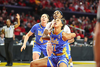 College Park, MD - March 25, 2019: UCLA Bruins forward Lajahna Drummer (11) looks to get the rebound during game between UCLA and Maryland at  Xfinity Center in College Park, MD.  (Photo by Elliott Brown/Media Images International)