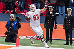 Wisconsin Badgers offensive tackle Michael Dieter (63) celebrates a rushing touchdown during an NCAA College Big Ten Conference football game against the Illinois Fighting Illini Saturday, October 28, 2017, in Champaign, Illinois. The Badgers won 24-10. (Photo by David Stluka)