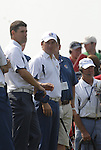 European Team members Padraig Harrington and Graeme McDowell wait on the 1st tee during the Singles on the Final Day of the Ryder Cup at Valhalla Golf Club, Louisville, Kentucky, USA, 21st September 2008 (Photo by Eoin Clarke/GOLFFILE)