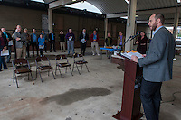 NWA Democrat-Gazette/ANTHONY REYES &bull; @NWATONYR<br /> Paxton Roberts, with the Bicycle Coalition of the Ozarks, gives a few remarks at Northwest Arkansas Regional Planning Commission press conference Monday, Nov. 16, 2015 at Shiloh Square in Springdale. The commission announced that Benton and Washington counties are recognized as a Bronze Bicycle Friendly Community by the League of American Bicyclists. The award was given for the commitment of the two counties to invest in the promotion, education and infrastructure for bicyclists.